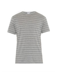 T-shirt à col rond à rayures horizontales gris