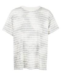 T-shirt à col rond à rayures horizontales gris Amiri