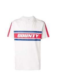T-shirt à col rond à rayures horizontales gris Marcelo Burlon County of Milan
