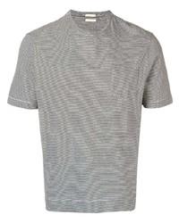 T-shirt à col rond à rayures horizontales gris Massimo Alba
