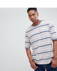 T-shirt à col rond à rayures horizontales gris Noak