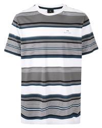 T-shirt à col rond à rayures horizontales gris PS Paul Smith