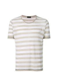 T-shirt à col rond à rayures horizontales gris Roberto Collina