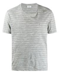 T-shirt à col rond à rayures horizontales gris Saint Laurent