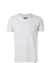 T-shirt à col rond à rayures horizontales gris Woolrich