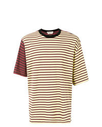 T-shirt à col rond à rayures horizontales jaune