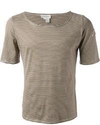 T-shirt à col rond à rayures horizontales marron clair