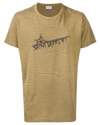 T-shirt à col rond à rayures horizontales marron clair Saint Laurent
