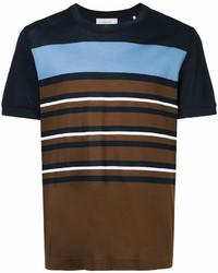 T-shirt à col rond à rayures horizontales marron foncé