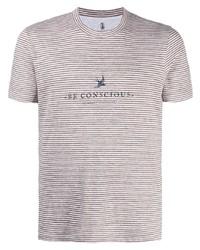 T-shirt à col rond à rayures horizontales marron Brunello Cucinelli