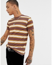 T-shirt à col rond à rayures horizontales marron Sacred Hawk