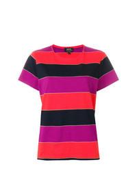 T-shirt à col rond à rayures horizontales multicolore