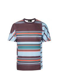 T-shirt à col rond à rayures horizontales multicolore Kolor