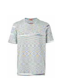 T-shirt à col rond à rayures horizontales multicolore Missoni