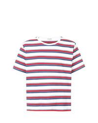 T-shirt à col rond à rayures horizontales multicolore Saint Laurent