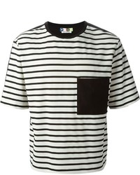 T-shirt à col rond à rayures horizontales noir et blanc
