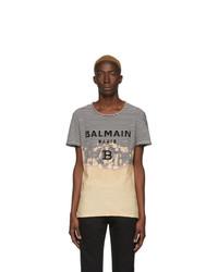 T-shirt à col rond à rayures horizontales noir et blanc Balmain
