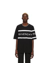 T-shirt à col rond à rayures horizontales noir et blanc Givenchy