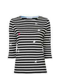 9e92309f1e7e7 ... T-shirt à col rond à rayures horizontales noir et blanc GUILD PRIME