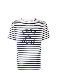 T-shirt à col rond à rayures horizontales noir et blanc JW Anderson
