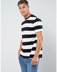 T-shirt à col rond à rayures horizontales noir et blanc Mango