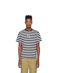 T-shirt à col rond à rayures horizontales noir et blanc Noah NYC