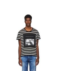 T-shirt à col rond à rayures horizontales noir et blanc R13