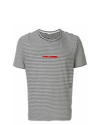 T-shirt à col rond à rayures horizontales noir et blanc Saint Laurent