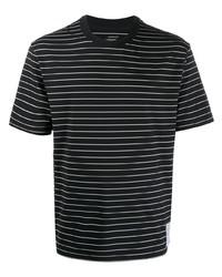 T-shirt à col rond à rayures horizontales noir et blanc Satisfy