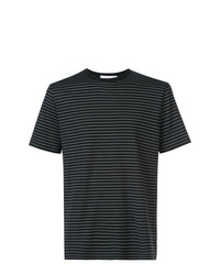 T-shirt à col rond à rayures horizontales noir et blanc Sunspel