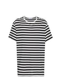 T-shirt à col rond à rayures horizontales noir et blanc Yohji Yamamoto