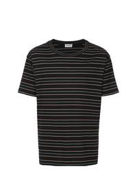 T-shirt à col rond à rayures horizontales noir