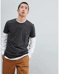 T-shirt à col rond à rayures horizontales noir Calvin Klein
