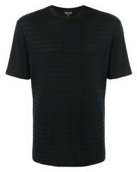 T-shirt à col rond à rayures horizontales noir Giorgio Armani