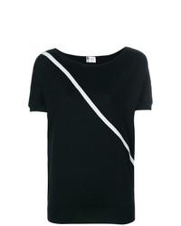 T-shirt à col rond à rayures horizontales noir Lanvin