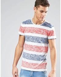T-shirt à col rond à rayures horizontales orange