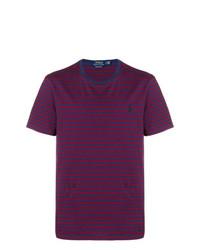 T-shirt à col rond à rayures horizontales pourpre foncé Polo Ralph Lauren