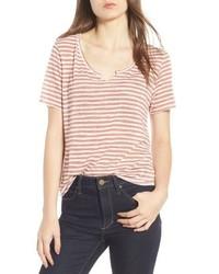 T-shirt à col rond à rayures horizontales rose