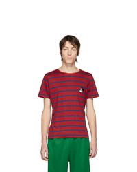 T-shirt à col rond à rayures horizontales rouge et bleu marine Gucci