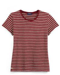 T-shirt à col rond à rayures horizontales rouge