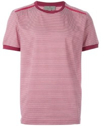 T-shirt à col rond à rayures horizontales rouge Canali