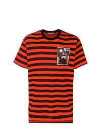 T-shirt à col rond à rayures horizontales rouge Givenchy
