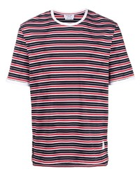 T-shirt à col rond à rayures horizontales rouge Thom Browne