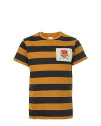 T-shirt à col rond à rayures horizontales tabac Kent & Curwen