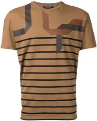 T-shirt à col rond à rayures horizontales tabac Neil Barrett