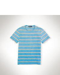 T-shirt à col rond à rayures horizontales turquoise