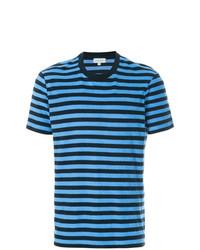 T-shirt à col rond à rayures horizontales turquoise CK Calvin Klein