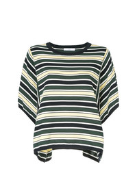 T-shirt à col rond à rayures horizontales vert foncé ASTRAET
