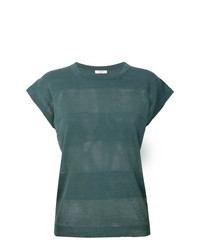 T-shirt à col rond à rayures horizontales vert foncé Peserico