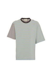 T-shirt à col rond à rayures horizontales vert menthe